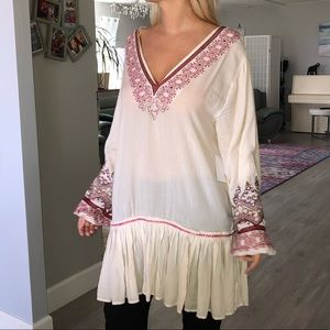 NWT free people embroidered loose style tunic